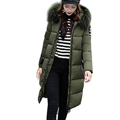 Amazon.com: OWMEOT Women's Down Jacket with Faux Fur Trim Hood