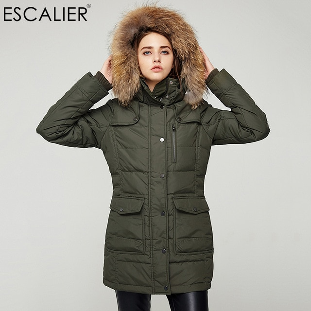 Escalier Waterproof Down Coats Women Long Parka Removable Raccoon