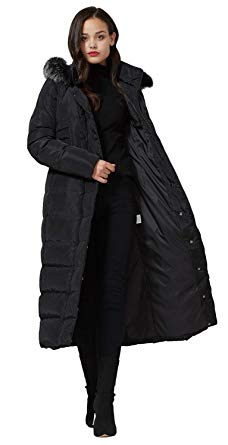 Amazon.com: Molodo Women's Long Down Coat with Fur Hood Maxi Down
