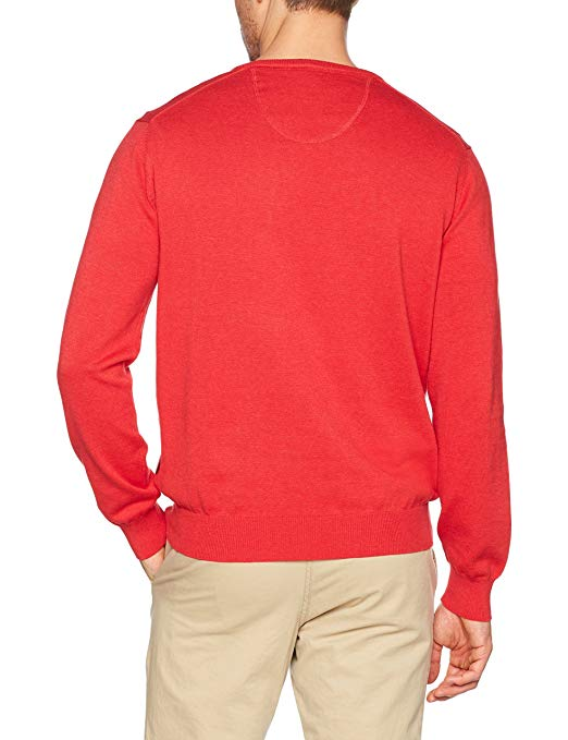 Fynch Hatton Men's V-Neck Jumper, Brown (Taupe), Large: Clothing