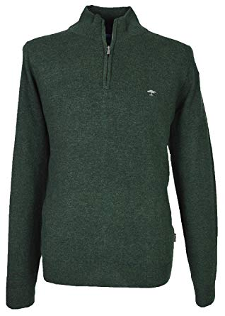 Fynch Hatton Men`s 1/2 Zip Jumper - 1218-802 - Fir (Green) (Large