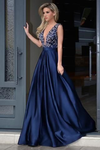 A-Line Deep V-Neck Royal Blue Long Beading Prom Dress Sweep Train