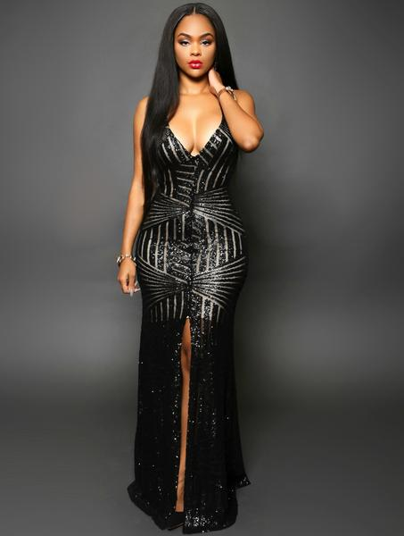 Glamorous Evening Dresses Black Sequins Gown u2013 HisandHerFashion.com