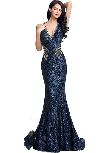 Glamorous Lace ,Halter Neckline, Mermaid Evening Dresses With