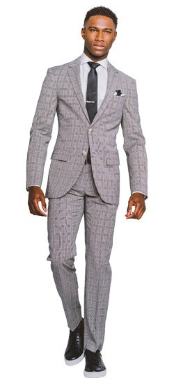 Men's Custom Suits - Black and White Glen Check Suit | INDOCHINO