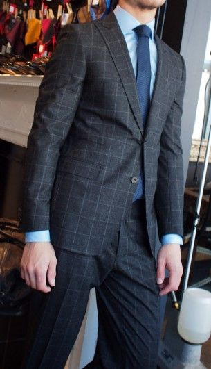 Tombolini dark grey glen check suit $895 from Gotstyle Menswear