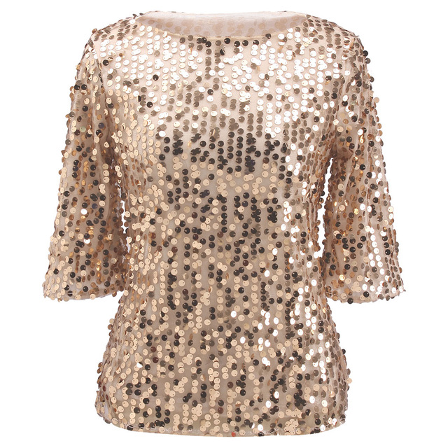 T Shirt Women Hot Sequin T shirt Ladies Sparkle Glitter 2017 New