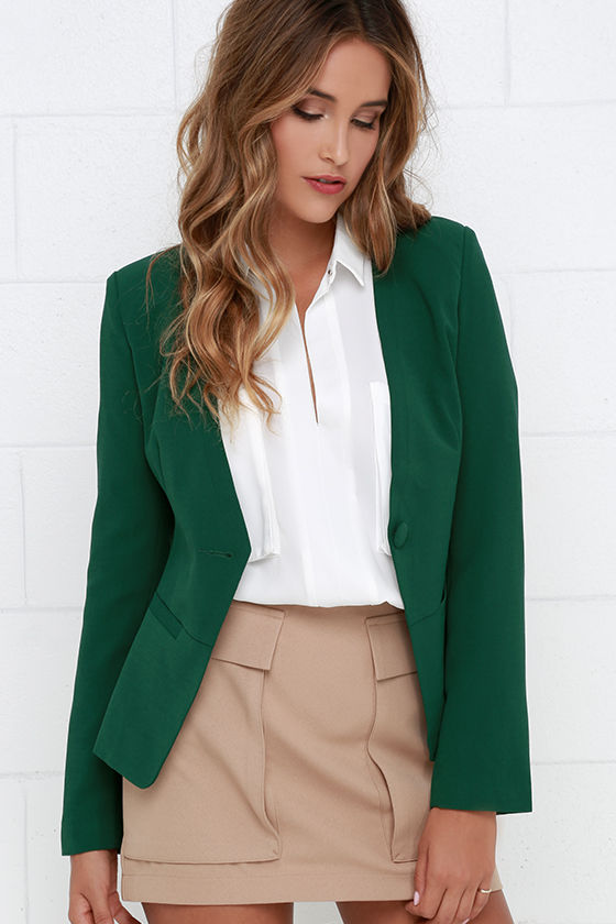 Chic Dark Green Blazer - Cropped Blazer - Collarless Blazer - $65.00