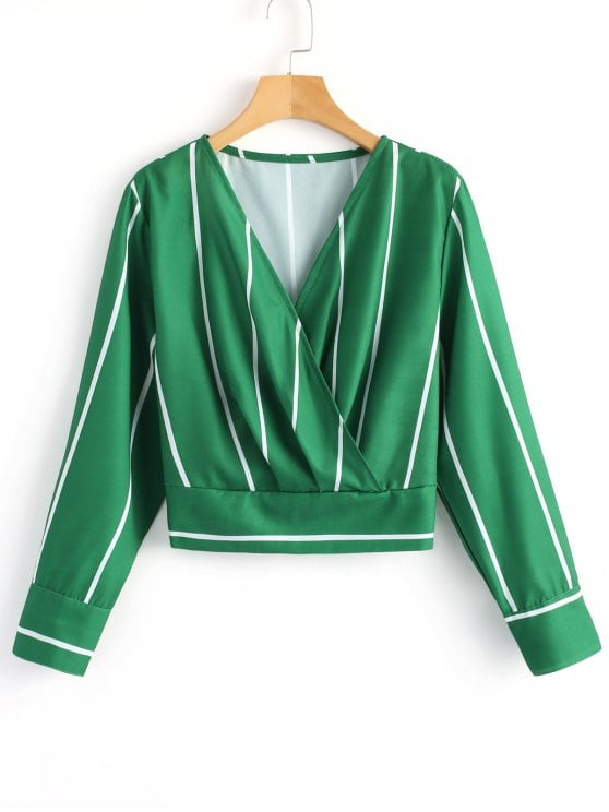 47% OFF] 2019 Crossed Front Stripes Blouse In GREEN M | ZAFUL
