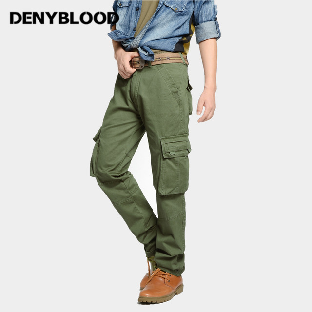 Denyblood Jeans Mens Cargo Pants Multi Pocket Military Army Green