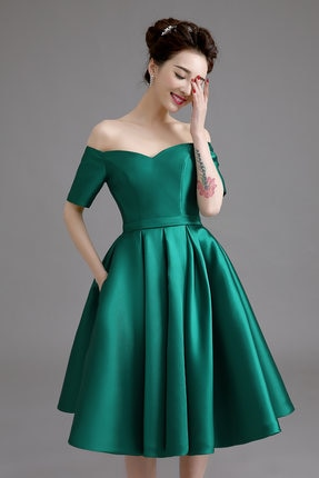 Customized Size Off Shoulder Cocktail Dress With Short Sleeves Green
