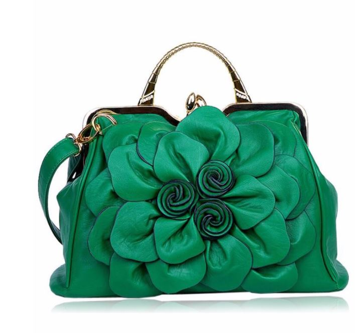 Luxury Dark Green Purse Orange Shoulder Bag Fashion Show Big Flower