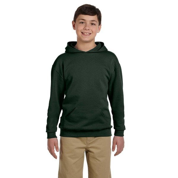 Shop Nublend Boy's Forest Green Hooded Pullover Sweatshirt - On Sale