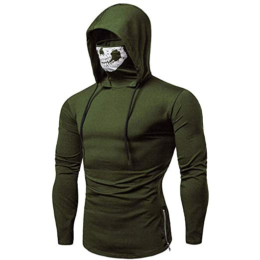 Mens Hoodie, Funny Mask Skull Hooded Pullover Solid Sweatshirt
