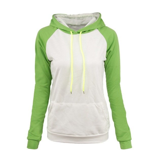 Color Patchwork Long Sleeve Hoodie Sweatshirt Green And White Hooded