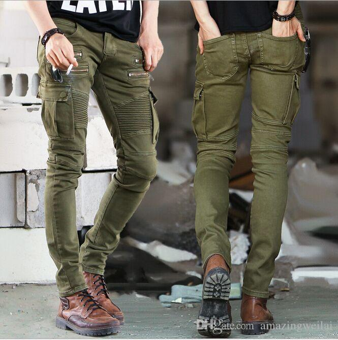 2019 2015 Fashion Zipper Multi Pocket Male Pleated Pencil Pants Full