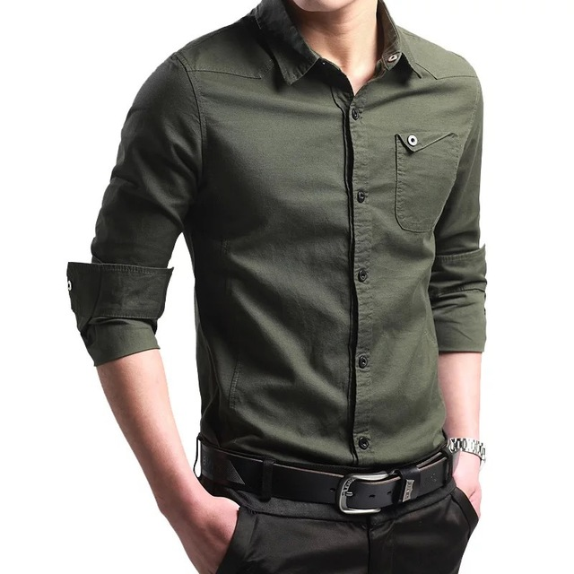 Military Style Men Shirts Army Green Men's Long Sleeve Shirt Male