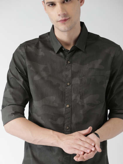 Olive Green Shirts - Buy Olive Green Shirts online in India