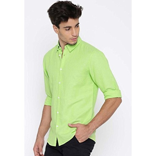 Buy Unknown SSB Men's Cotton Solid Light Green Casual Shirts