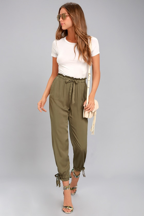 Chic Olive Green Pants - Casual Pants - Drawstring Pants
