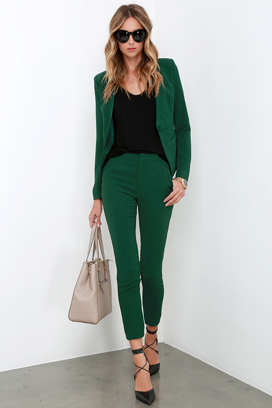 Trouser Pants - Dark Green Pants - $45.00