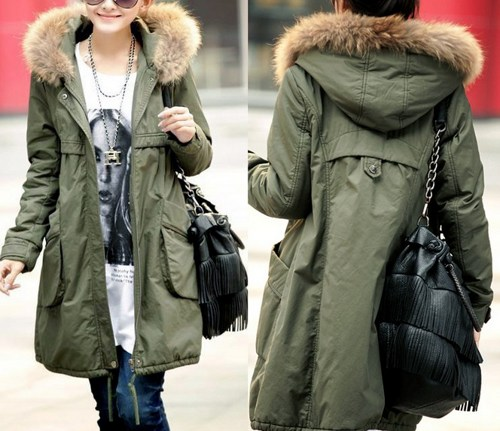 Chic Fashion Green Parka With Fur winter coat with fur hood - Stacha