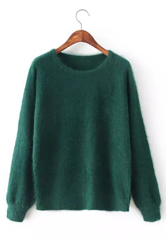 Dark Green Plain Long Sleeve Sweater - Pullovers - Sweaters - Tops