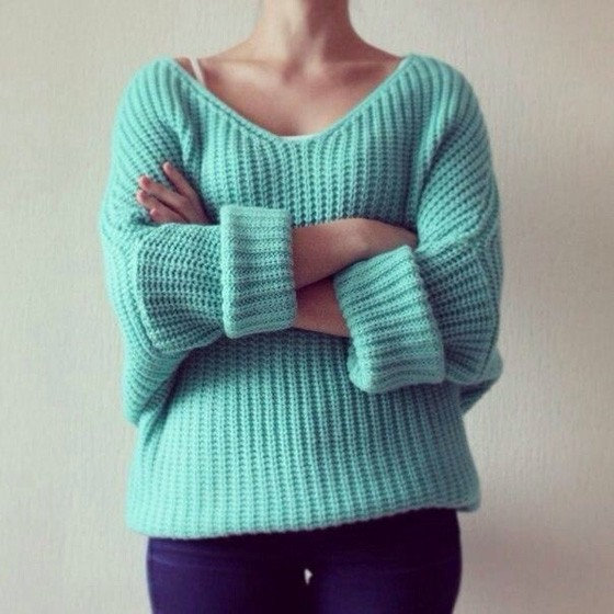 Light Green Plain Hollow-out V-neck Long Sleeve Pullover Sweater