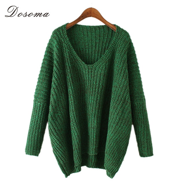 women thicken v neck sweater 2018 european style sexy green sweater
