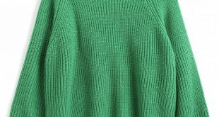 58% OFF] 2019 Lantern Sleeve Pullover Mock Neck Sweater In GREEN ONE