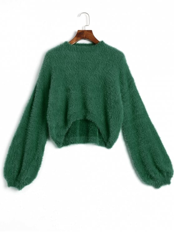 31% OFF] 2019 High Low Mohair Sweater In GREEN ONE SIZE | ZAFUL