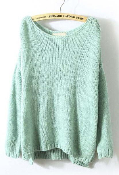 Mint Green Long Sleeve Split Loose Pullovers Sweater | Clothing for