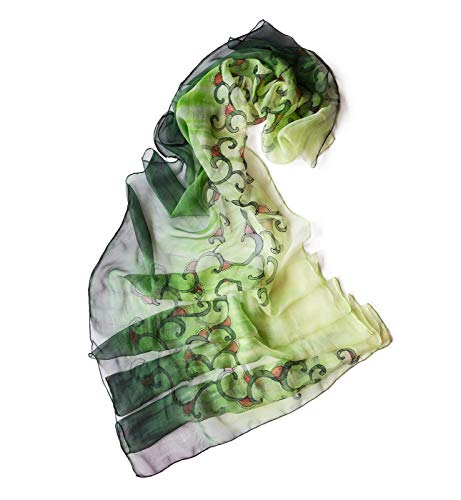 Amazon.com: Silk Scarf Floral, Abstract Shawl Green, Scarves For