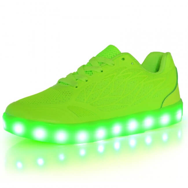 LED Light Up Trainers Women Neon Green