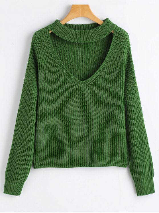 58% OFF] 2019 Oversized Choker Chunky Sweater In GREEN ONE SIZE | ZAFUL