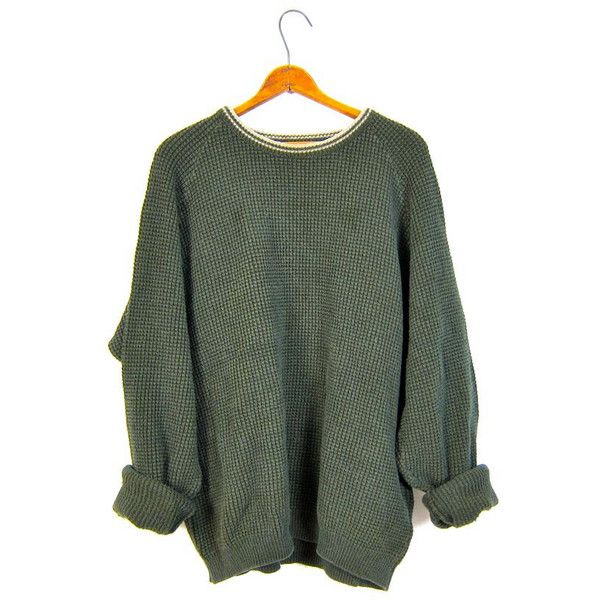 Oversized Army Green Sweater Thermal Boyfriend Cotton 90s Plain