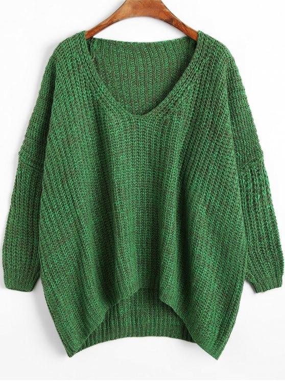 35% OFF] 2019 Chunky V Neck Oversized Sweater In GREEN ONE SIZE | ZAFUL