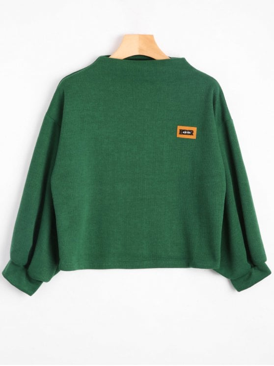 33% OFF] [HOT] 2019 Badge Patched Lantern Sleeve Sweatshirt In GREEN