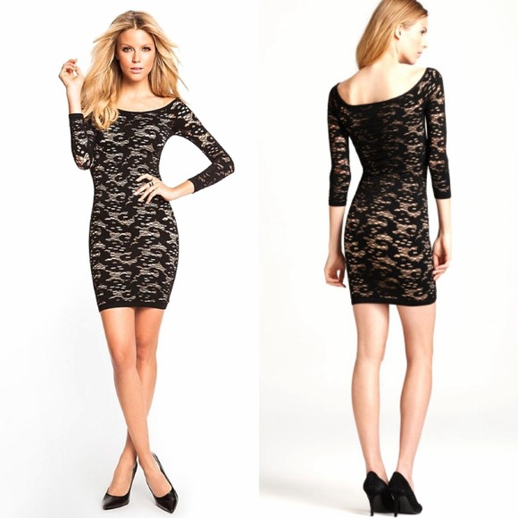 Guess Dresses | Lace Overlay Black Dress Bodycon Ultrasexy | Poshmark