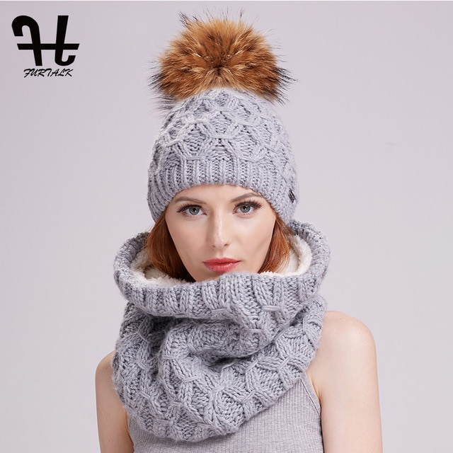 Furtalk winter women knitted hat and scarf set raccoon fur pom pom
