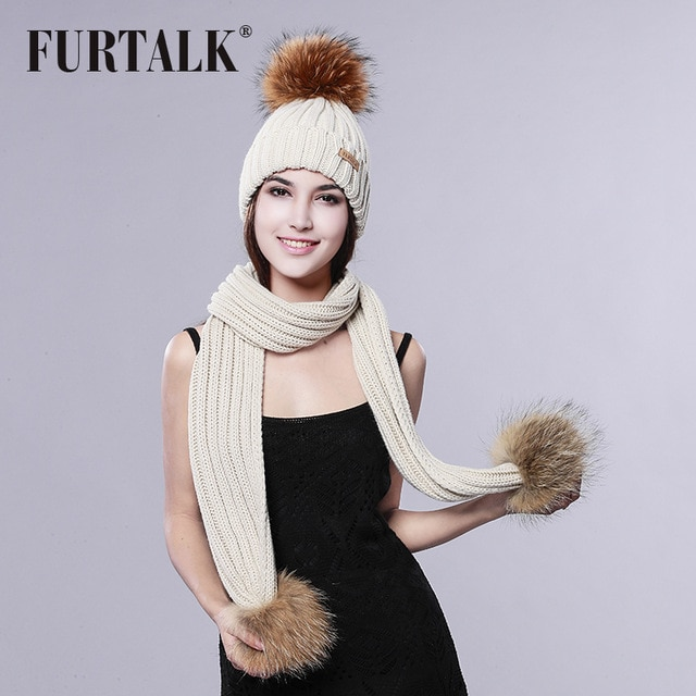 FURTALK Pom Pom Hat and Scarf Women Winter Long Knit Fur Scarf Hat
