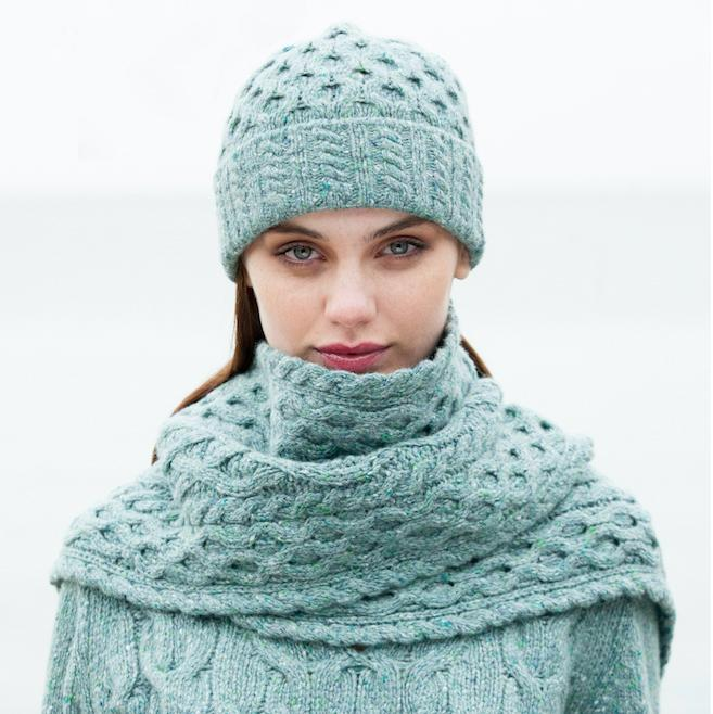 Ladies' Irish Aran Knitwear Hat + Scarf Set u2013 The Irish Design House