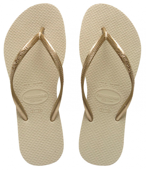 Havaianas Slim Sand Grey/Light Golden Flip Flop