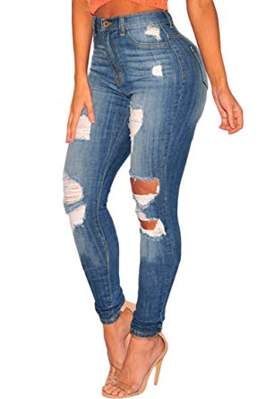 Sidefeel Women Hight Waist Ripped Denim Ankle Length Skinny Jeans at