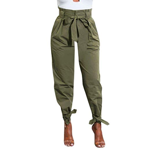 LANDFOX Womens Belted High Waist Trousers Ladies Party Casual Pants