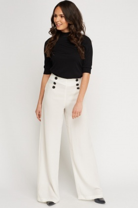 Button Detail High Waist Trousers - Just £5