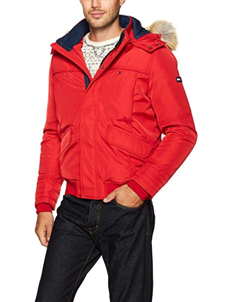 Tommy Hilfiger Denim Men's Winter Jacket with Faux Fur Hood, Salsa