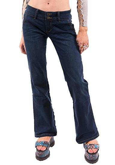 Cindy. H 70s Style Flared Bootcut Stretch Hipster Jeans - Dark Blue