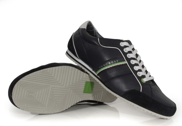 Hugo Boss Green Victoire La Leather Fashion Navy Blue SNEAKERS Shoes