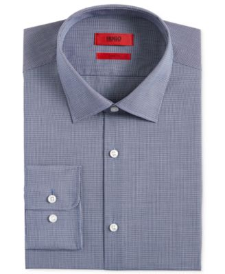 Hugo Boss HUGO Men's Slim-Fit Navy Micro-Check Dress Shirt - Dress